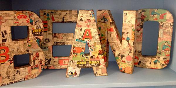 Буквы, декорированные декупажем