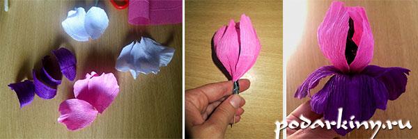 Изготовление ириса из конфет