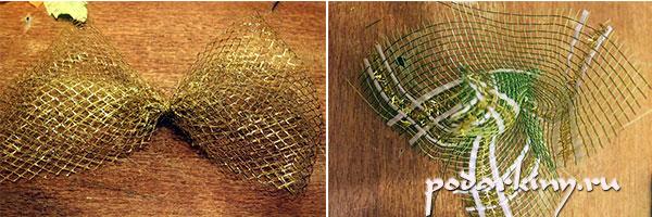 Бант из флористической сетки для украшения торта из конфет