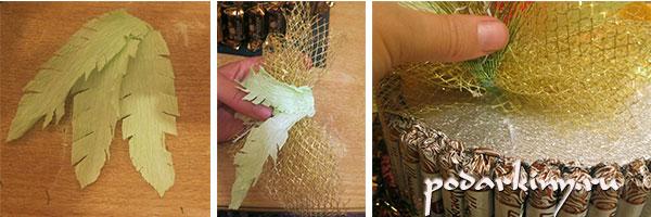 Украшение из флористической сетки для торта из конфет