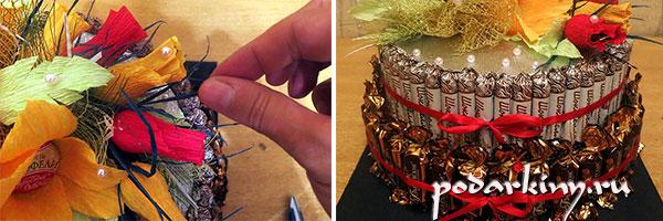 Сборка торта из конфет