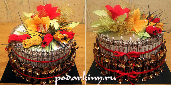 Торт, украшенный цветами из конфет