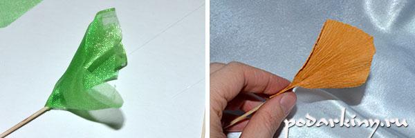 Изготавливаю фунтики и отдельные листочки