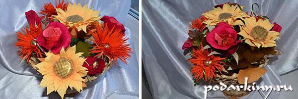 b6 Букет из конфет осенний мк. Осенний букет из конфет в корзине: МК с фото и видео