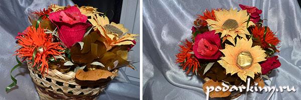 Готовый осенний букет-корзинка с цветами из конфет