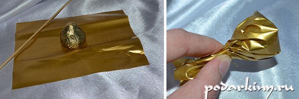 Первый этап изготовления подсолнуха из конфет