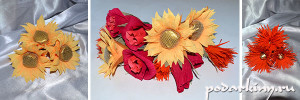Подсолнух, астры и розы - цветы для осеннего конфетного букета