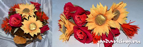Осенние цветы из конфет