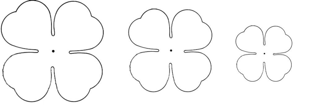Шаблон для вырезания цветка из ткани с 4 лепестками
