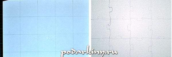 Рисую пазлы из квадратиков картона