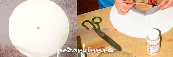 Подготовка основы и приклеивание салфетки