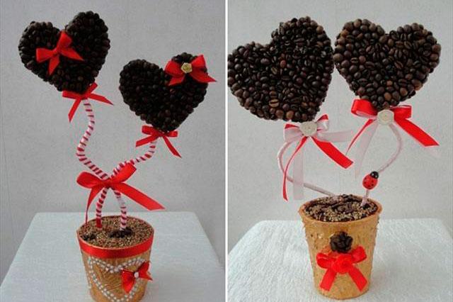 Топиарий из кофе в форме сердца