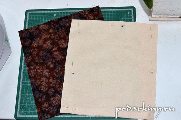 Ткань для лицевой и внутренней стороны мешочка