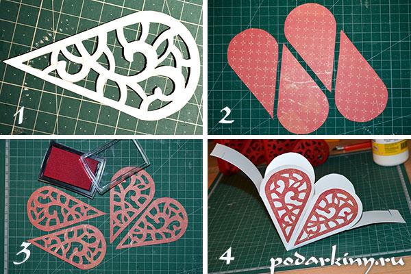 Декор валентинок вытынанками из скрапбумаги
