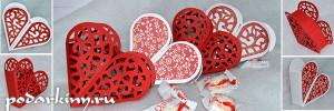 Сердечки бонбоньерки украшенные вытынанками