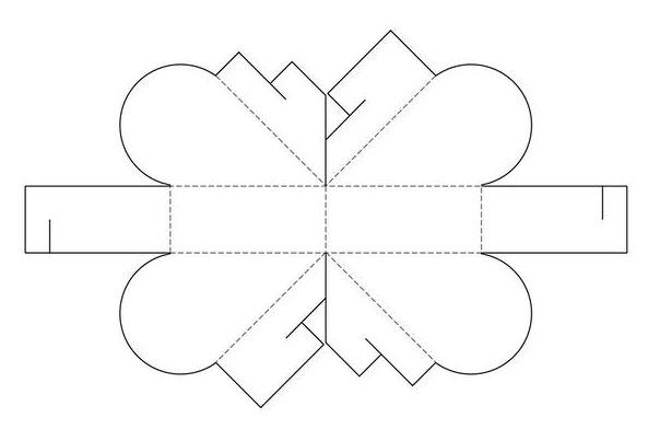 Схема объемной валентинки сердечка