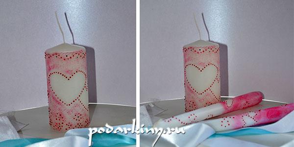 Декор свечей на свадьбу точечной росписью