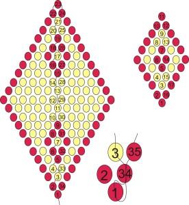 Схема плетения бантика из бисера