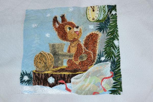 Вышивка гладью на основе советской новогодней открытки